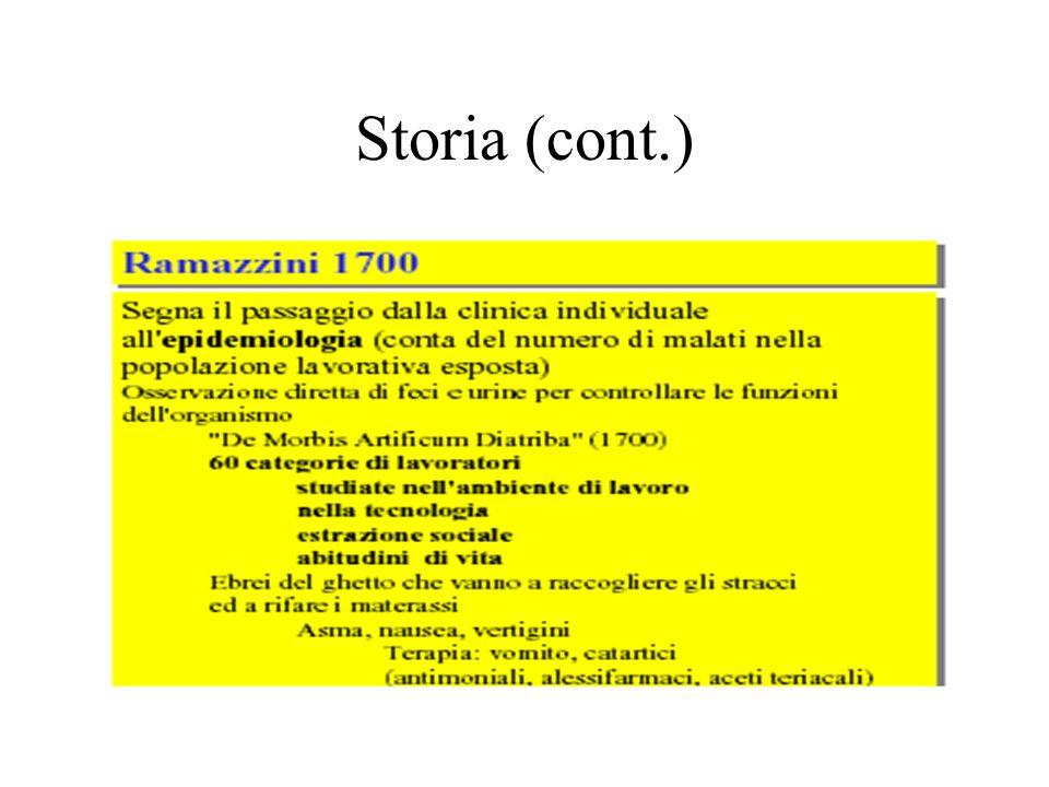 Storia (cont.) Rammazzini ha capito il ruolo della tossicologia occupazionale