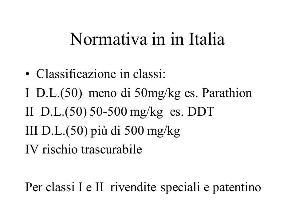 Normativa in in Italia Classificazione in classi: