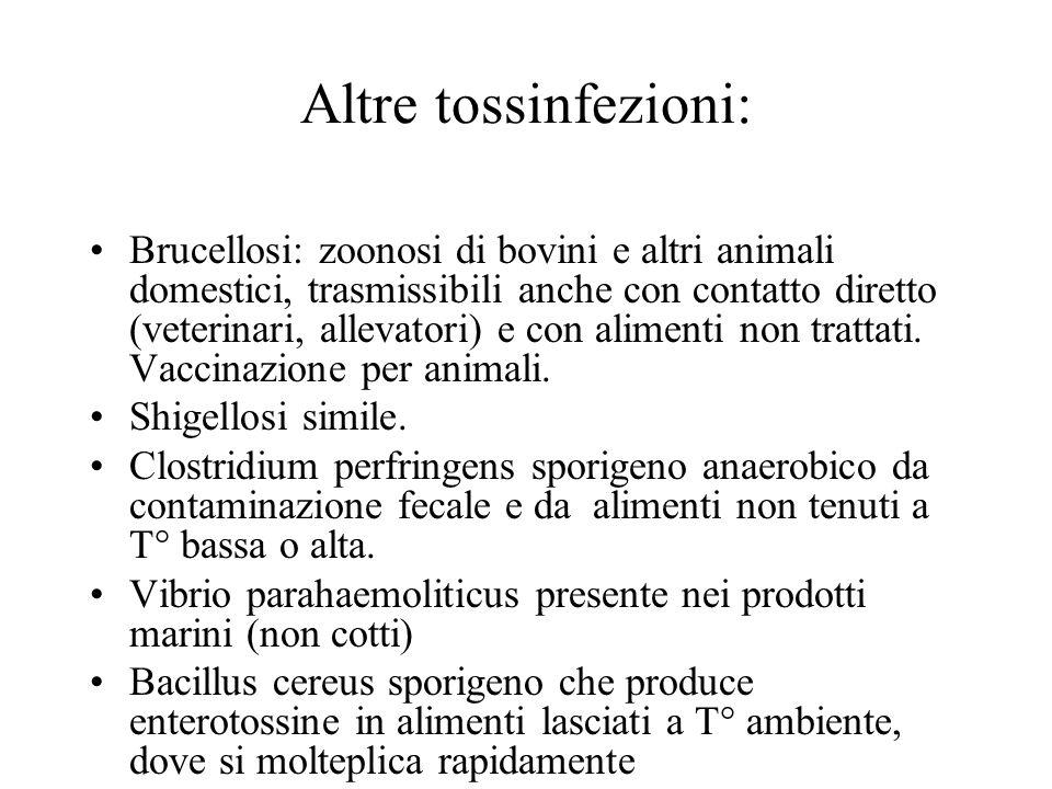 Altre tossinfezioni: