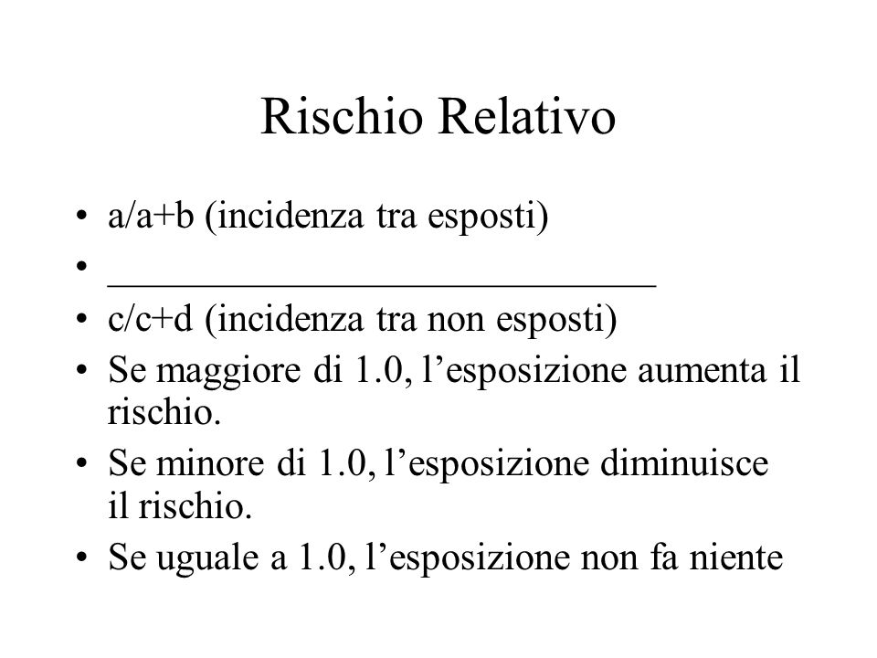 Rischio Relativo a/a+b (incidenza tra esposti)
