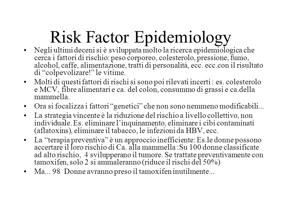 Risk Factor Epidemiology