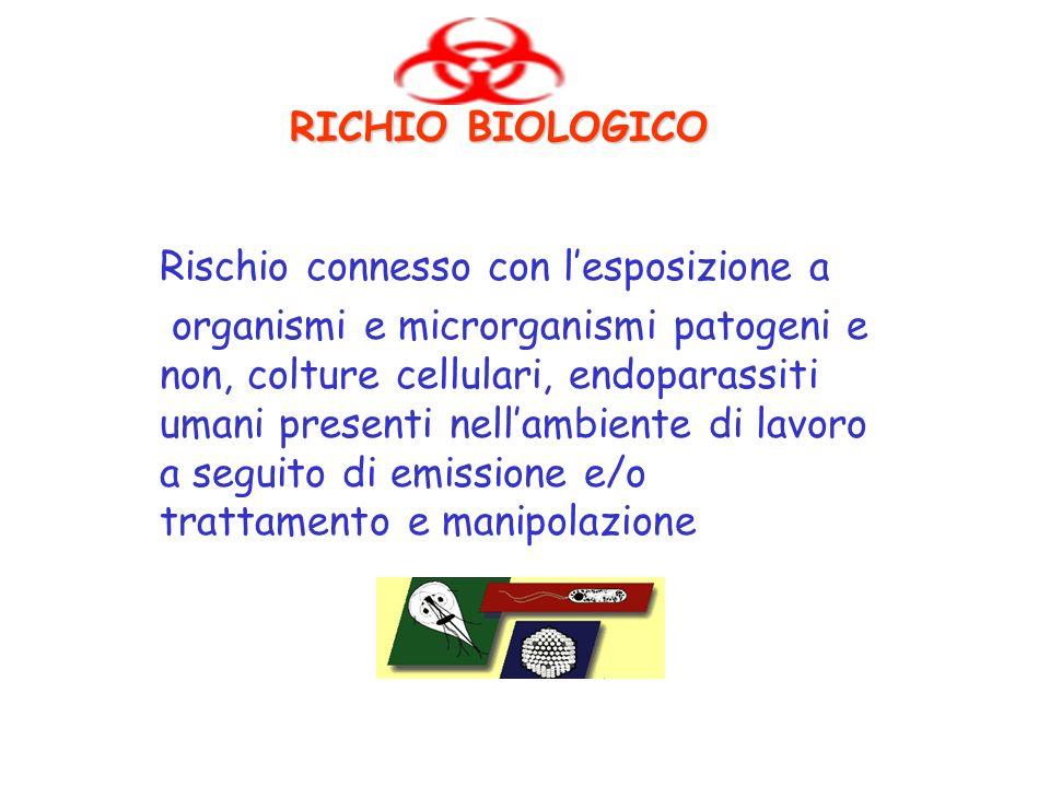 RICHIO BIOLOGICO Rischio connesso con l'esposizione a.