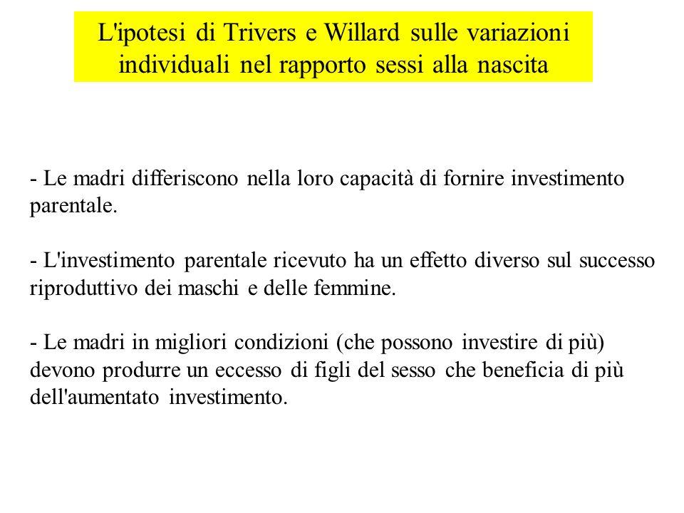 L ipotesi di Trivers e Willard sulle variazioni