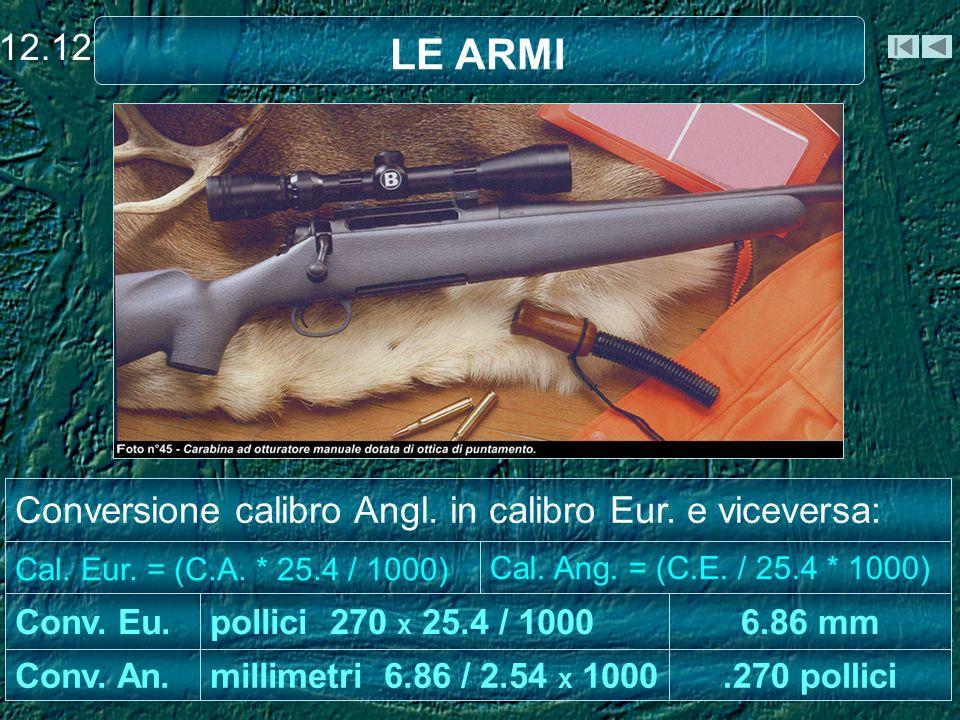 LE ARMI 12.12 Conversione calibro Angl. in calibro Eur. e viceversa: