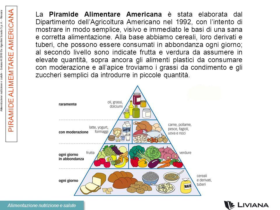 La Piramide Alimentare Americana è stata elaborata dal Dipartimento dell'Agricoltura Americano nel 1992, con l'intento di mostrare in modo semplice, visivo e immediato le basi di una sana e corretta alimentazione. Alla base abbiamo cereali, loro derivati e tuberi, che possono essere consumati in abbondanza ogni giorno; al secondo livello sono indicate frutta e verdura da assumere in elevate quantità, sopra ancora gli alimenti plastici da consumare con moderazione e all'apice troviamo i grassi da condimento e gli zuccheri semplici da introdurre in piccole quantità.