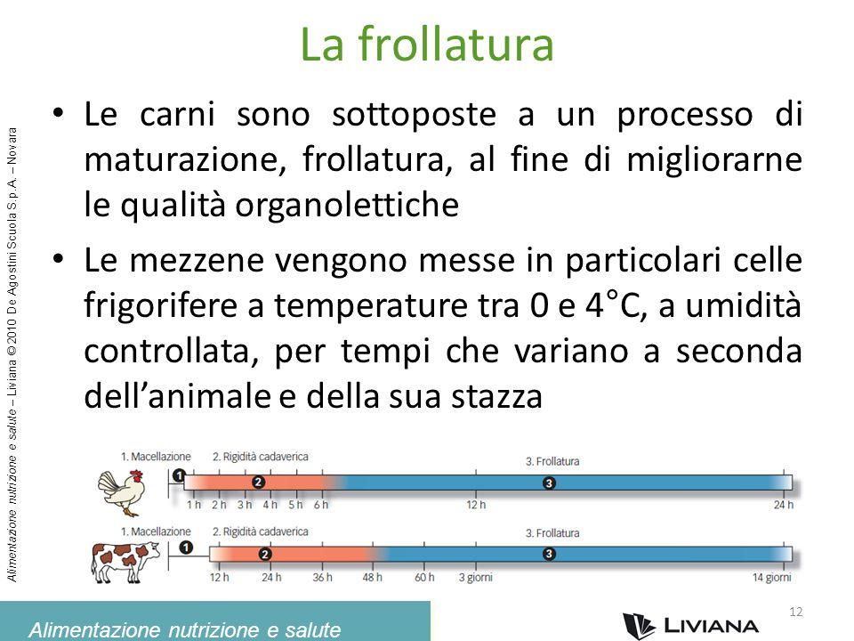 La frollatura Le carni sono sottoposte a un processo di maturazione, frollatura, al fine di migliorarne le qualità organolettiche.