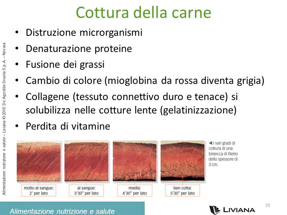 Cottura della carne Distruzione microrganismi Denaturazione proteine