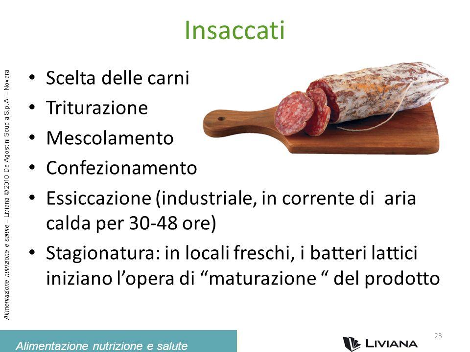 Insaccati Scelta delle carni Triturazione Mescolamento Confezionamento