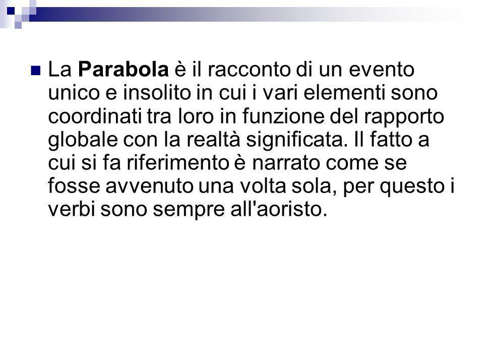 La Parabola è il racconto di un evento unico e insolito in cui i vari elementi sono coordinati tra loro in funzione del rapporto globale con la realtà significata.
