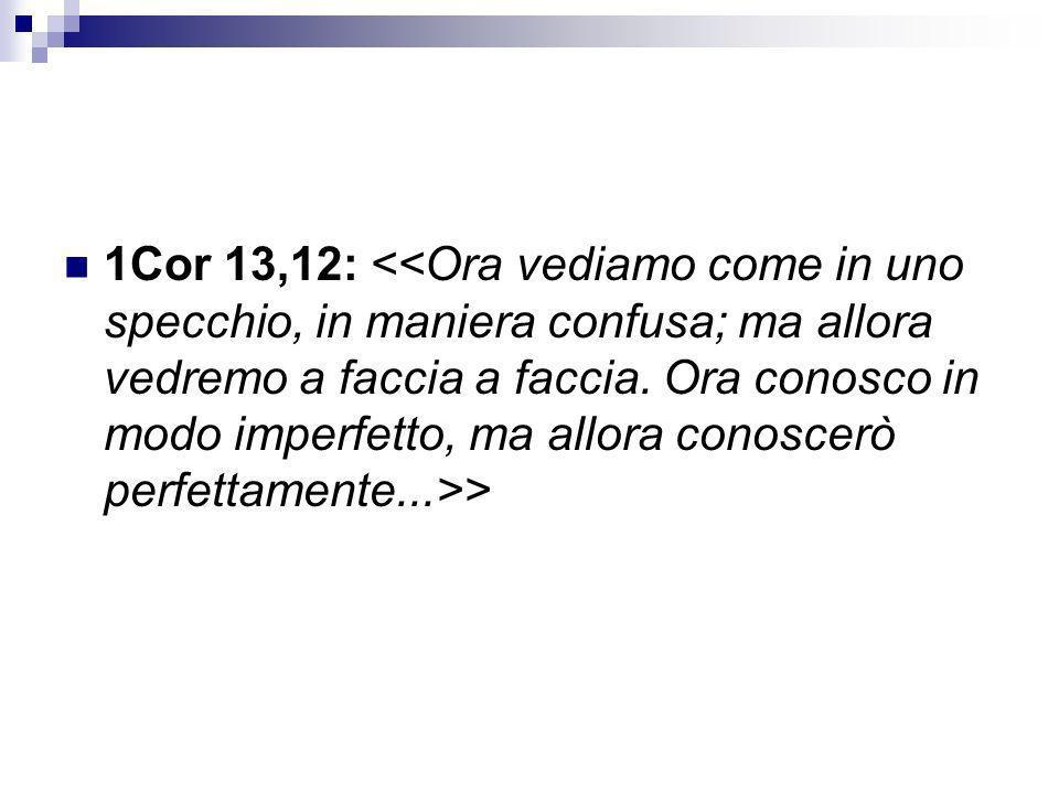 1Cor 13,12: <<Ora vediamo come in uno specchio, in maniera confusa; ma allora vedremo a faccia a faccia.
