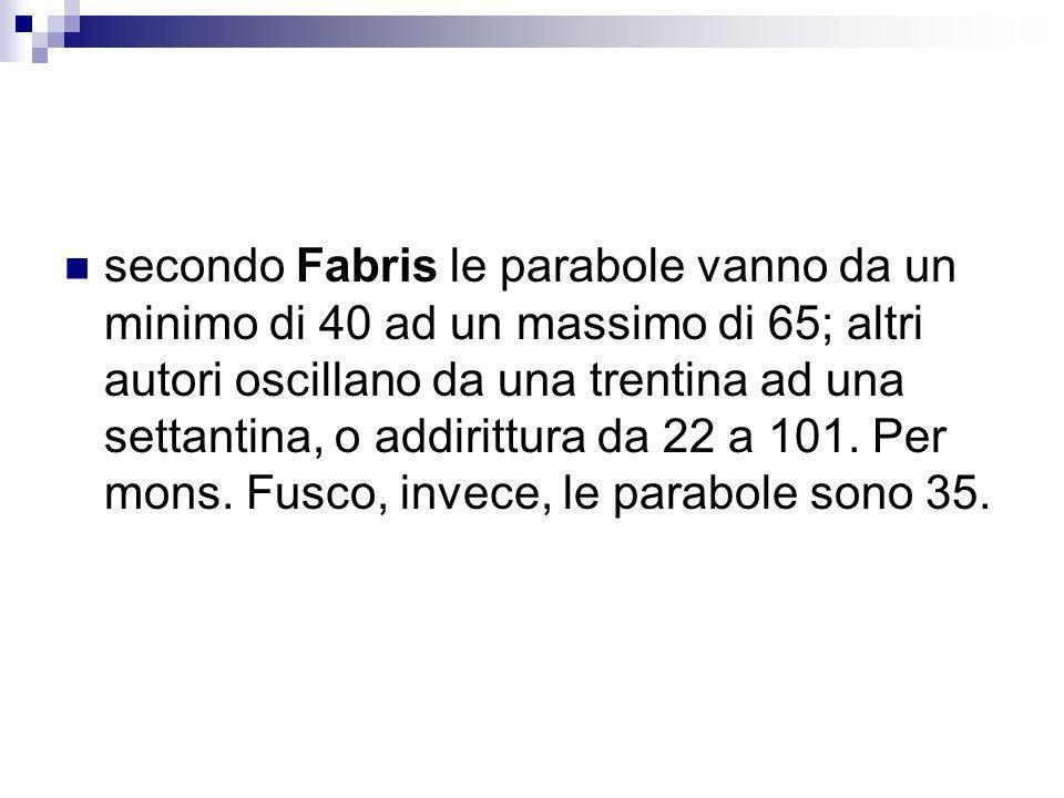secondo Fabris le parabole vanno da un minimo di 40 ad un massimo di 65; altri autori oscillano da una trentina ad una settantina, o addirittura da 22 a 101.