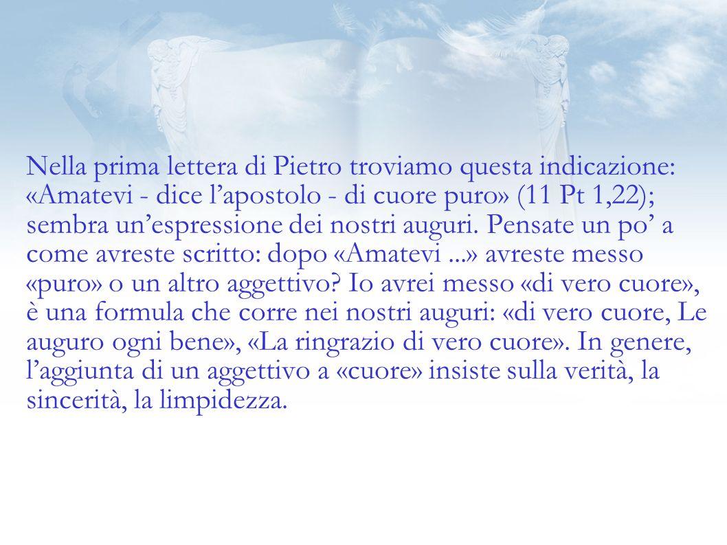 Nella prima lettera di Pietro troviamo questa indicazione: «Amatevi - dice l'apostolo - di cuore puro» (11 Pt 1,22); sembra un'espressione dei nostri auguri.