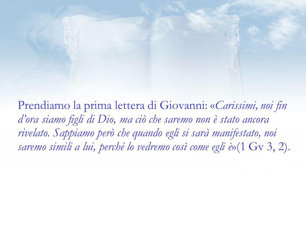 Prendiamo la prima lettera di Giovanni: «Carissimi, noi fin d'ora siamo figli di Dio, ma ciò che saremo non è stato ancora rivelato.
