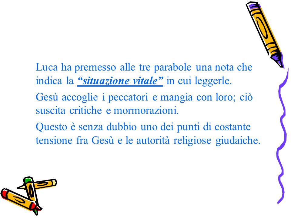 Luca ha premesso alle tre parabole una nota che indica la situazione vitale in cui leggerle.