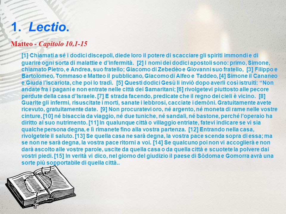 1. Lectio. Matteo - Capitolo 10,1-15.