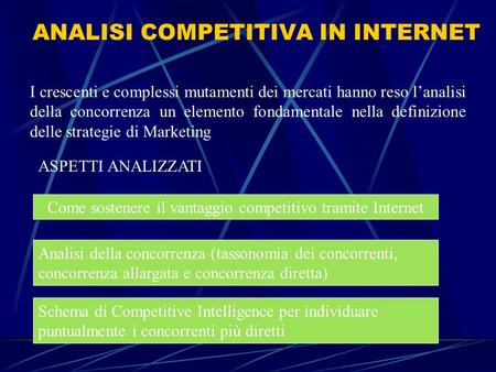 ANALISI COMPETITIVA IN INTERNET