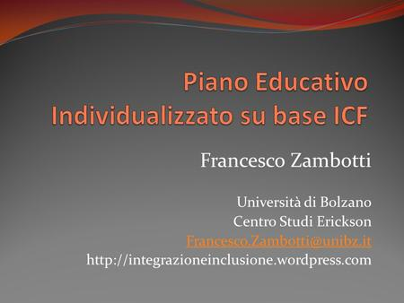 Piano Educativo Individualizzato su base ICF