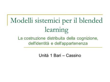 Modelli sistemici per il blended learning