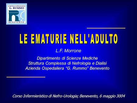 LE EMATURIE NELL'ADULTO