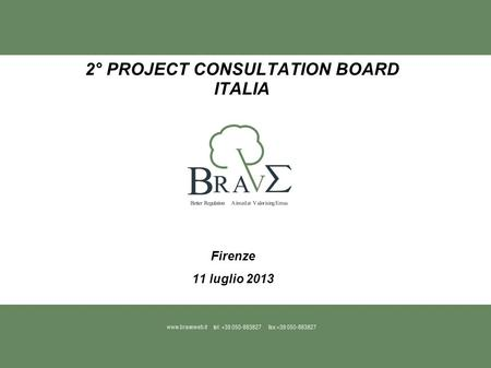 2° PROJECT CONSULTATION BOARD ITALIA Firenze 11 luglio 2013.