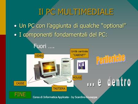 Corso di Informatica Applicata - by Scardino Giuseppe Il PC MULTIMEDIALE Un PC con laggiunta di qualche optionalUn PC con laggiunta di qualche optional.