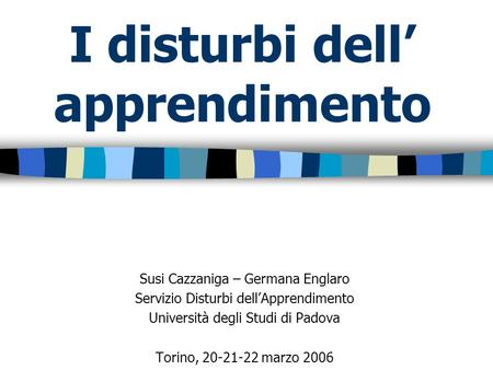 I disturbi dell' apprendimento