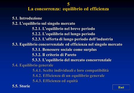 La concorrenza: equilibrio ed efficienza