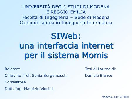 una interfaccia internet per il sistema Momis