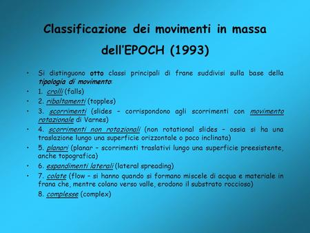 Classificazione dei movimenti in massa dell'EPOCH (1993)