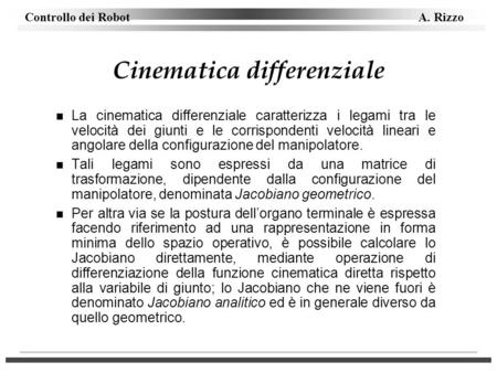 Cinematica differenziale