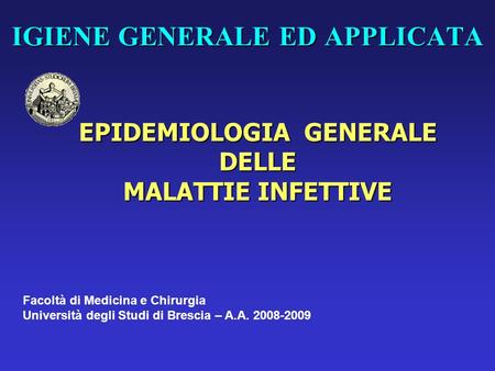 IGIENE GENERALE ED APPLICATA