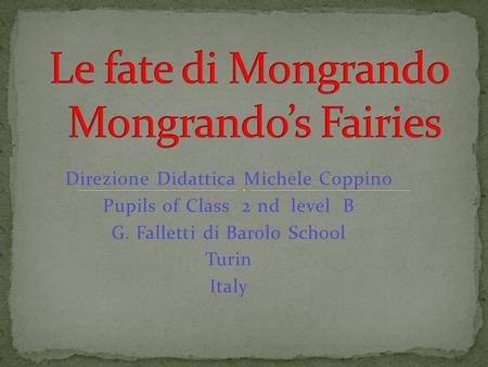 Direzione Didattica Michele Coppino Pupils of Class 2 nd level B G. Falletti di Barolo School Turin Italy.