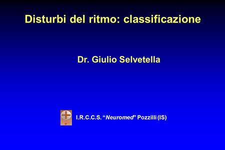 Disturbi del ritmo: classificazione