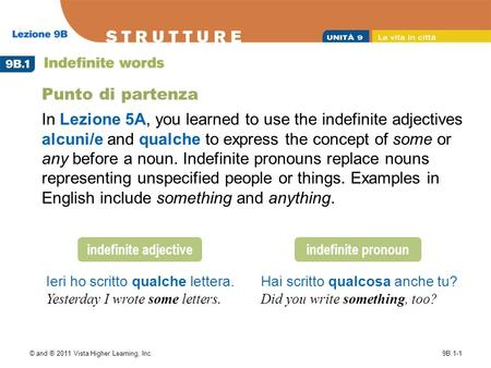 © and ® 2011 Vista Higher Learning, Inc.9B.1-1 Punto di partenza In Lezione 5A, you learned to use the indefinite adjectives alcuni/e and qualche to express.