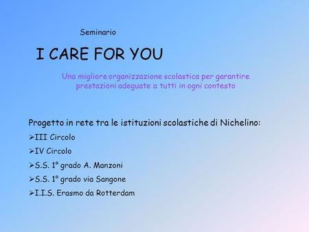 Seminario I CARE FOR YOU