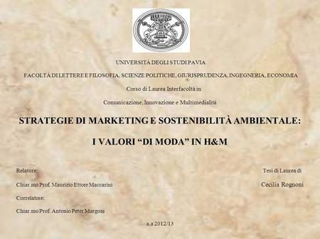STRATEGIE DI MARKETING E SOSTENIBILITÀ AMBIENTALE: