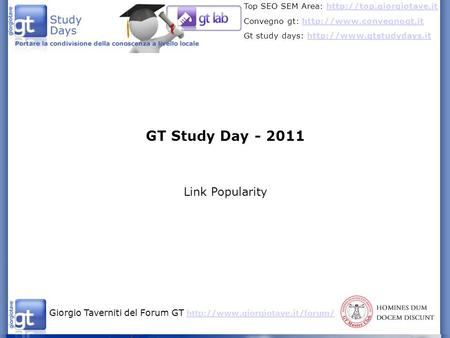 GT Study Day - 2011 Link Popularity.