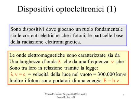Dispositivi optoelettronici (1)