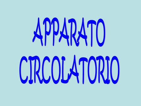 APPARATO CIRCOLATORIO.