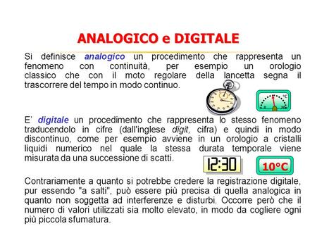 ANALOGICO e DIGITALE 10°C