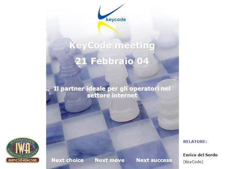 KeyCode next choice, next move, next success! Desenzano 21.02.2004 Next choiceNext moveNext success keycode KeyCode meeting 21 Febbraio 04 Il partner ideale.