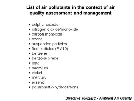 Directive 96/62/EC - Ambient Air Quality List of air pollutants in the context of air quality assessment and management.