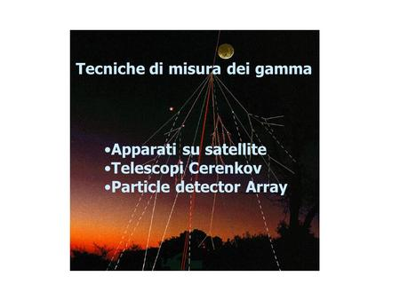Apparati su satellite Telescopi Cerenkov Particle detector Array Tecniche di misura dei gamma.