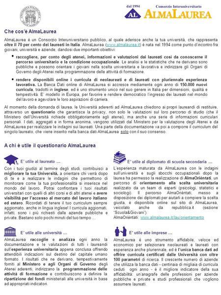 LOGO ATENEO Che cos è AlmaLaurea - ppt scaricare 987d4fba9ca1