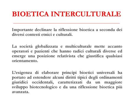 BIOETICA INTERCULTURALE