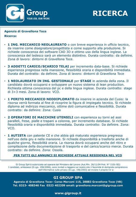 Gi Group SpA, Agenzia per il Lavoro (Aut  Min  26/11/04 Prot