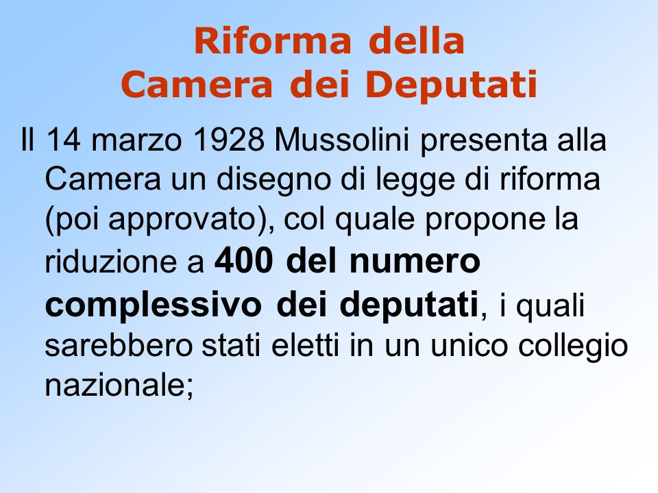 Il fascismo ppt video online scaricare for Deputati camera numero
