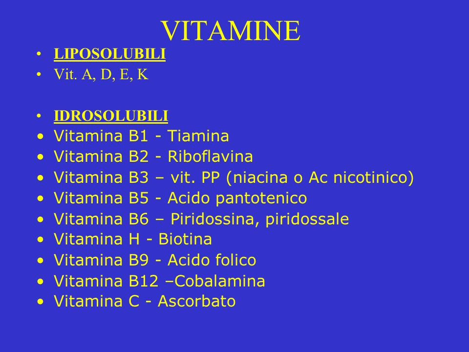 vitamine liposolubili e idrosolubili differenza