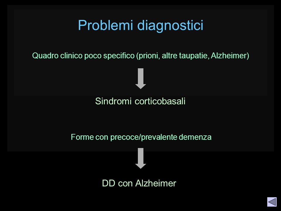 Quadro clinico poco specifico (prioni, altre taupatie, Alzheimer)