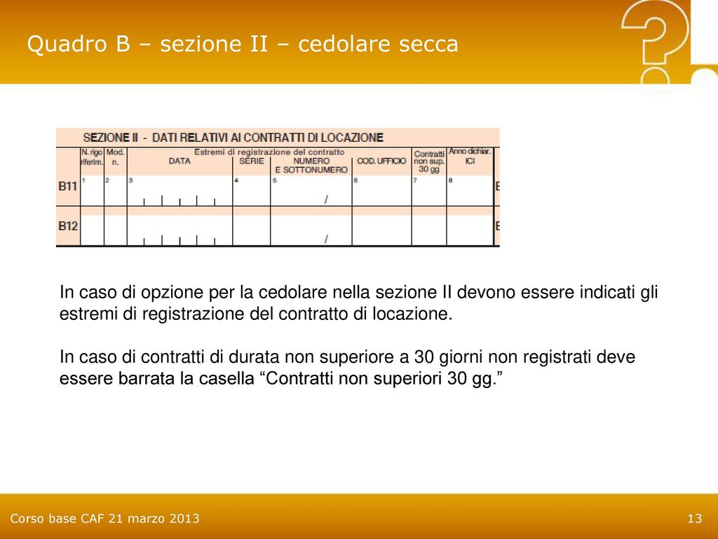 Awesome Quadro B U2013 Sezione II U2013 Cedolare Secca